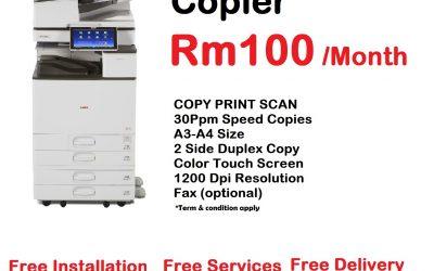 """今天低至价格 每个月RM100/ 月 ,我们提供给你的最好的办公室 """" 打印 和 复印 """" 的解决方案"""